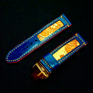 47Ronin#191 Navy blue calf leather (22mm, Beige stitching)