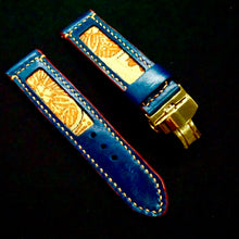 Load image into Gallery viewer, 47Ronin#191 Navy blue calf leather (22mm, Beige stitching)