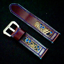 Load image into Gallery viewer, 47Ronin#169 Plum purple calf leather (22mm, Navy blue stitching)