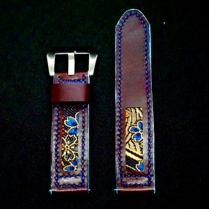 47Ronin#169 Plum purple calf leather (22mm, Navy blue stitching)
