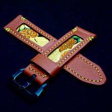 Load image into Gallery viewer, 47Ronin#179 Salamander orange calf leather (24mm, Yellow stitching)