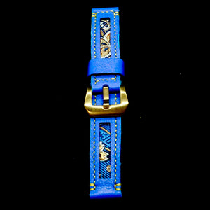47Ronin#178 Indigo blue calf leather (20mm, Yellow stitching)