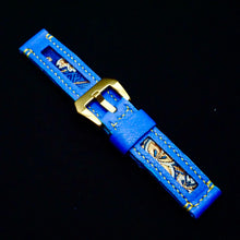 Load image into Gallery viewer, 47Ronin#178 Indigo blue calf leather (20mm, Yellow stitching)