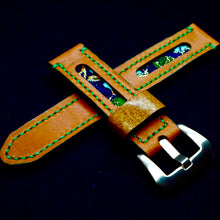 Load image into Gallery viewer, 47Ronin#177 Orange calf leather (20mm, Green stitching)