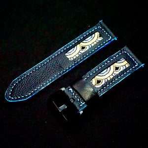 47Ronin#175 Black calf leather (24mm, Sky blue stitching)