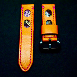 47Ronin#174 Orange calf leather (22mm, Pink stitching)
