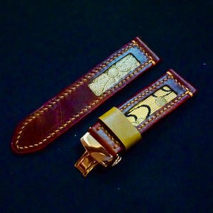 47Ronin#173 Chocolate glossy brown calf leather (24mm, Beige stitching)