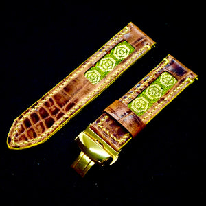 47Ronin#172 Dark brown croc embossed calf leather (24mm, Yellow stitching)