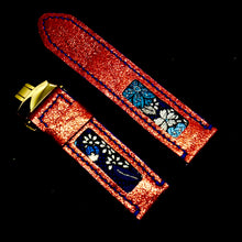 Load image into Gallery viewer, 47Ronin#171 Glittering red coated calf leather (24mm, Navy blue stitching)