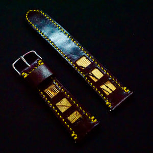 47Ronin#156 Chocolate glossy brown calf leather (22mm, Yellow stitching)