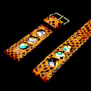 47Ronin#158 Russet brown snake embossed calf leather (20mm, Turquoise stitching)