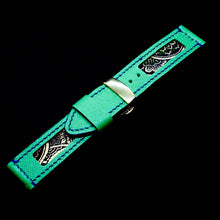 Load image into Gallery viewer, 47Ronin#170 Emerald green calf leather (24mm, Navy blue stitching)