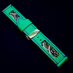 47Ronin#170 Emerald green calf leather (24mm, Navy blue stitching)