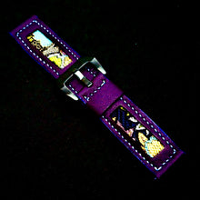 Load image into Gallery viewer, 47Ronin#181 Violet calf leather (22mm, Sky blue stitching)