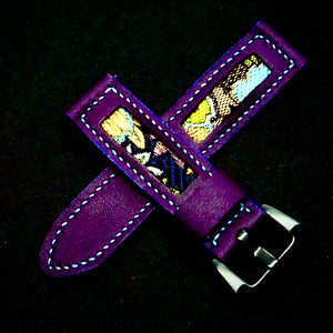 47Ronin#181 Violet calf leather (22mm, Sky blue stitching)
