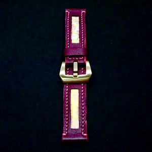 47Ronin#168 Maroon calf leather (20mm, Pink stitching)