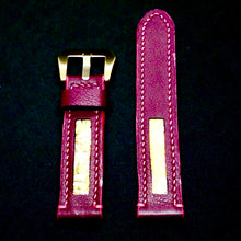 Load image into Gallery viewer, 47Ronin#168 Maroon calf leather (20mm, Pink stitching)