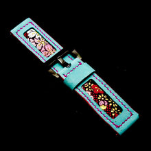 Load image into Gallery viewer, 47Ronin#167 Baby blue calf leather (24mm, Pink stitching)