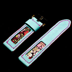 47Ronin#167 Baby blue calf leather (24mm, Pink stitching)