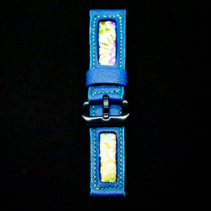 47Ronin#165 Cornflower blue calf leather (24mm, Lime green stitching)