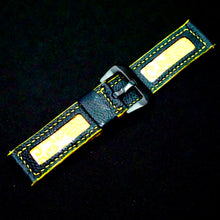 Load image into Gallery viewer, 47Ronin#164 Black calf leather (24mm, Yellow stitching)