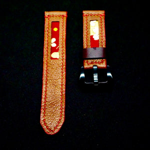 47Ronin#163 Brown calf leather (20mm, Red stitching)