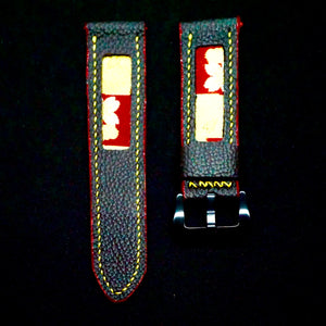 47Ronin#162 Black calf leather (24mm, Yellow stitching)