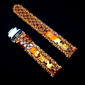 47Ronin#153 Chocolate brown snake bossed calf leather (18mm, Beige stitching)