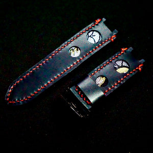 47Ronin#160 Black calf leather (24mm, Red stitching)