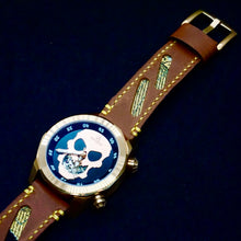 Load image into Gallery viewer, 47Ronin#155 Caramel brown calf leather (22mm, Yellow stitching)