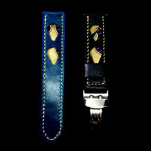 Load image into Gallery viewer, 47Ronin#292 Egyptian blue & black calf leather (20mm, Yellow stitching)