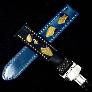 47Ronin#292 Egyptian blue & black calf leather (20mm, Yellow stitching)