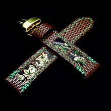 Load image into Gallery viewer, 47Ronin#304 Brown lizard embossed calf leather (22mm, Green stitching)