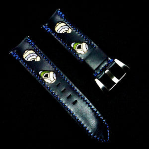 47Ronin#305 Black calf leather (22mm, Navy blue stitching)