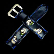 Load image into Gallery viewer, 47Ronin#305 Black calf leather (22mm, Navy blue stitching)