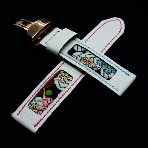 47Ronin#306 White calf leather (22mm, Sky blue & Pink stitching)