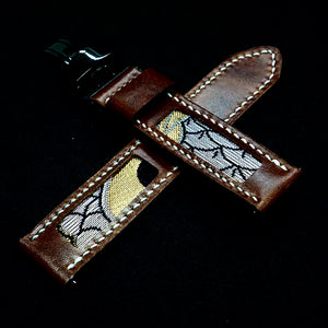 47Ronin#308 Chocolate brown glossy calf leather (22mm, White stitching)