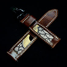 Load image into Gallery viewer, 47Ronin#308 Chocolate brown glossy calf leather (22mm, White stitching)