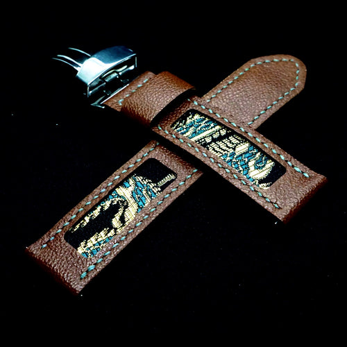 47Ronin#309 Chocolate brown calf leather (22mm, Grey stitching)