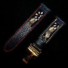 Load image into Gallery viewer, 47Ronin#310 Black calf leather (22mm, Red & Beige stitching)