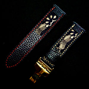 47Ronin#310 Black calf leather (22mm, Red & Beige stitching)