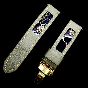 47Ronin#311 Rhino grey calf leather (22mm, Beige stitching)