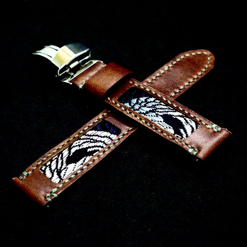 47Ronin#312 Chocolate brown glossy calf leather (22mm, Grey stitching)