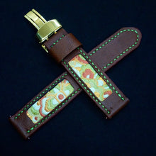 Load image into Gallery viewer, 47Ronin#313 Chocolate brown calf leather (20mm, Lime green stitching)