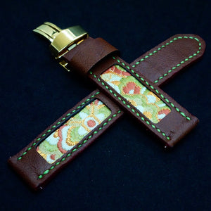 47Ronin#313 Chocolate brown calf leather (20mm, Lime green stitching)