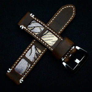 47Ronin#314 Mocha brown calf leather (22mm, White stitching)