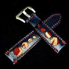 Load image into Gallery viewer, 47Ronin#324 Black calf leather (20mm, Red stitching)