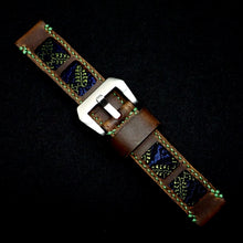 Load image into Gallery viewer, 47Ronin#317 Mocha brown calf leather (22mm, Green stitching)