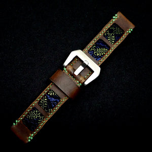 47Ronin#317 Mocha brown calf leather (22mm, Green stitching)