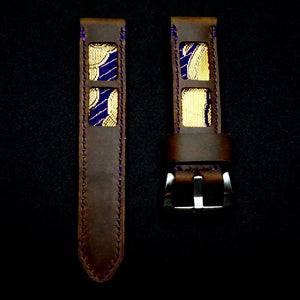 SIXOFOUR Series One - Robson Violet with 47Ronin#319 Mocha brown calf leather (22mm, Purple stitching)